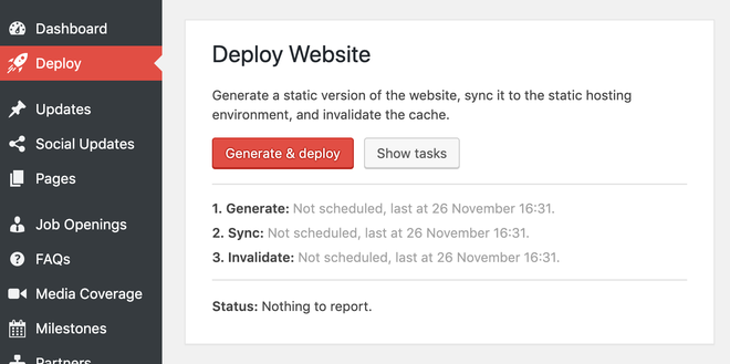 Admin interface showing the Deploy Website section.